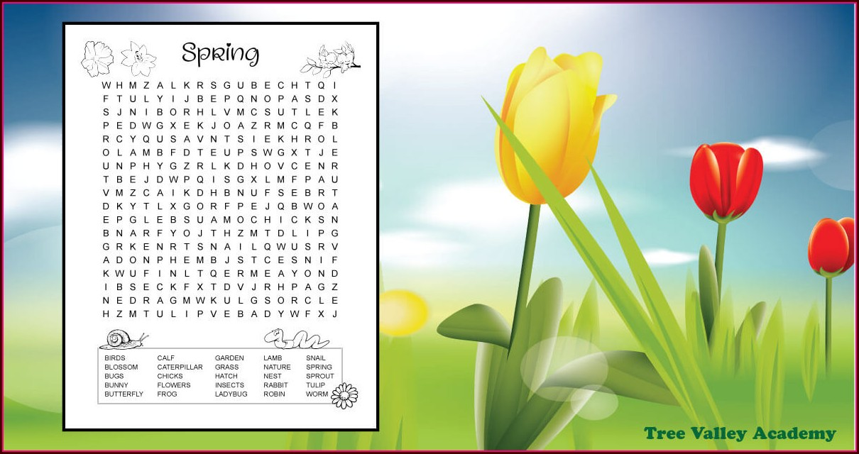 Free Printable Spring Word Search Printable Difficult