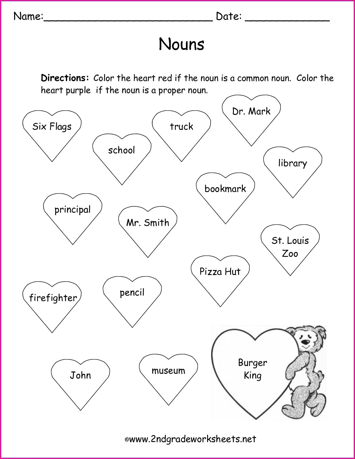 Free Printable Valentine's Day Worksheet 1st Grade