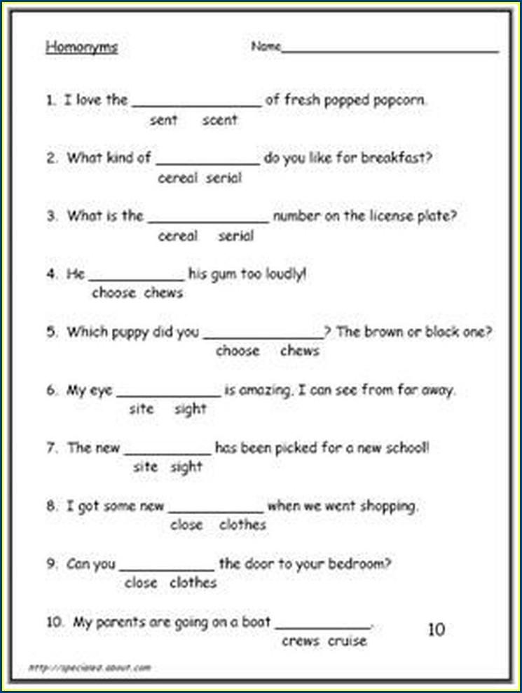 Free Printable Worksheets Homophones Grade 3