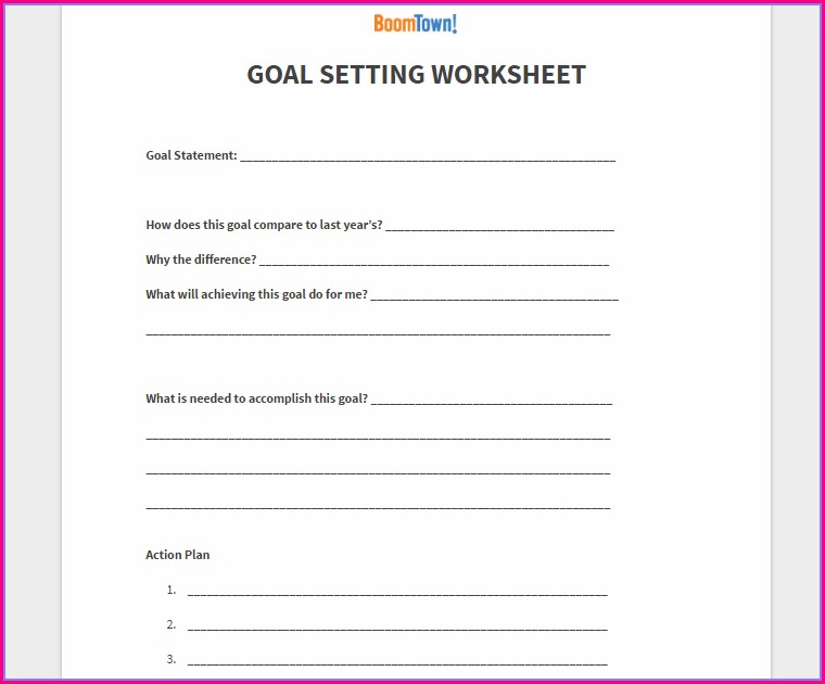 Free Real Estate Goal Setting Worksheet