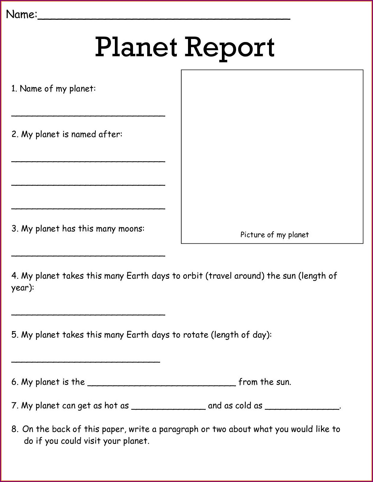 Free Science Worksheet Year 5