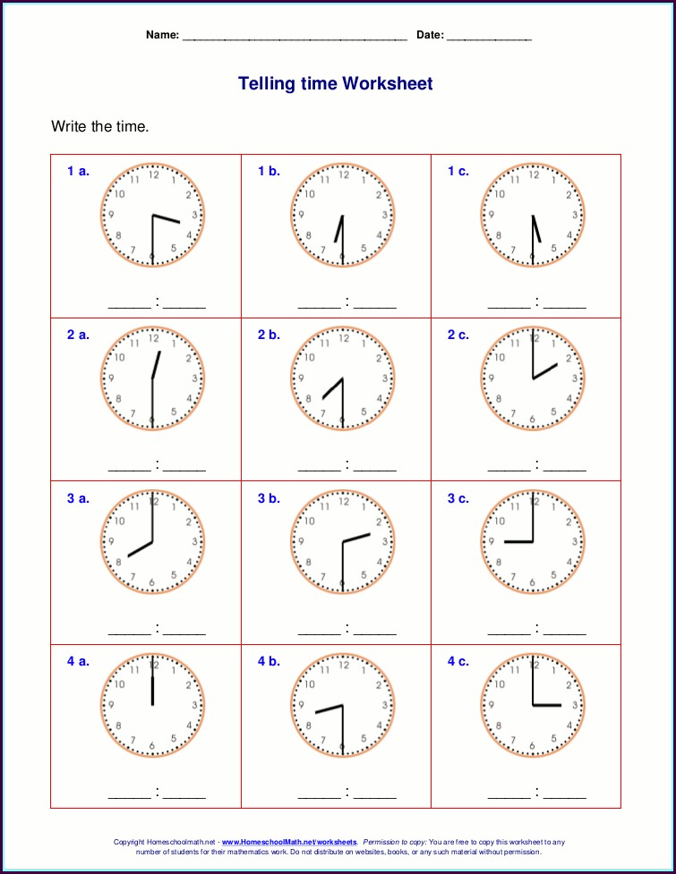 Free Telling Time Worksheets To The Hour