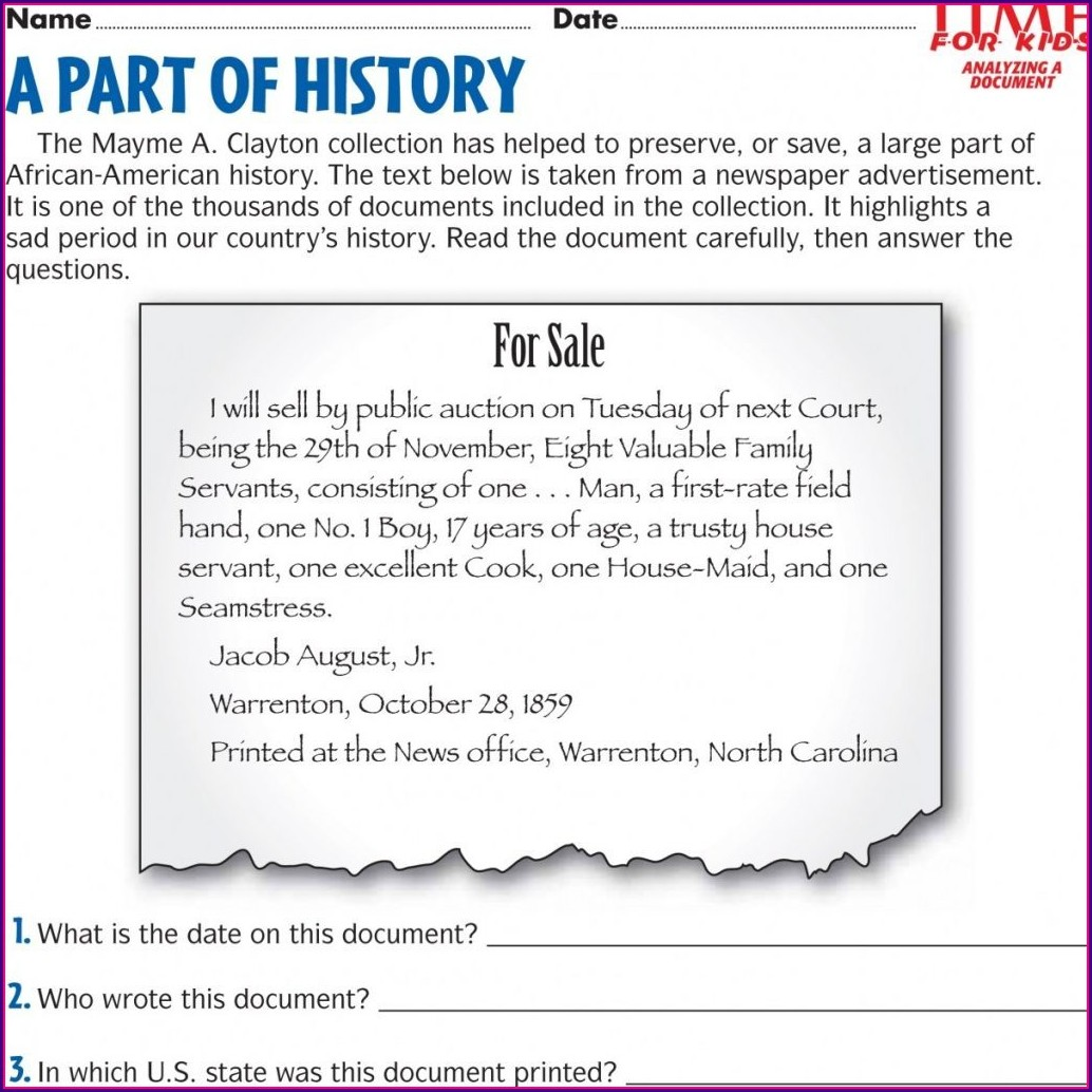 Free Us History Worksheet Printables