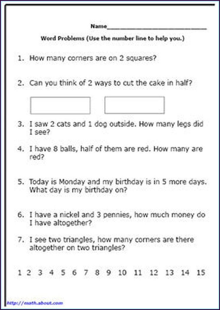 Free Word Problem Worksheets For 1st Grade