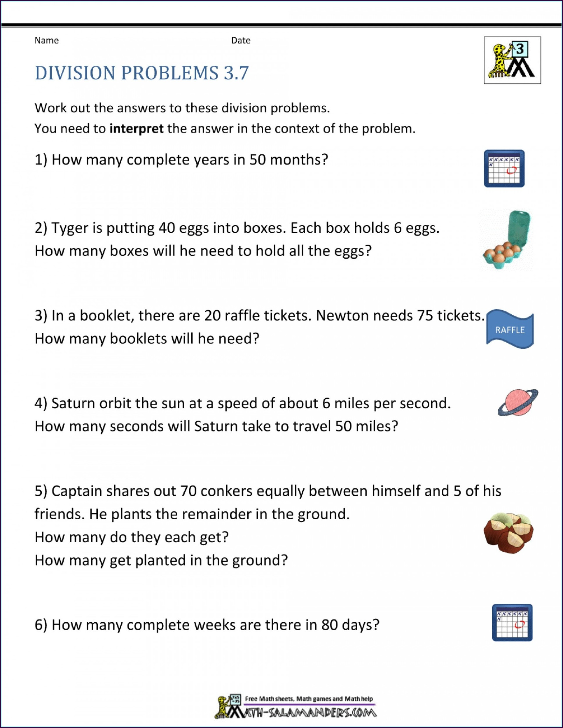 Free Word Problem Worksheets For 3rd Grade