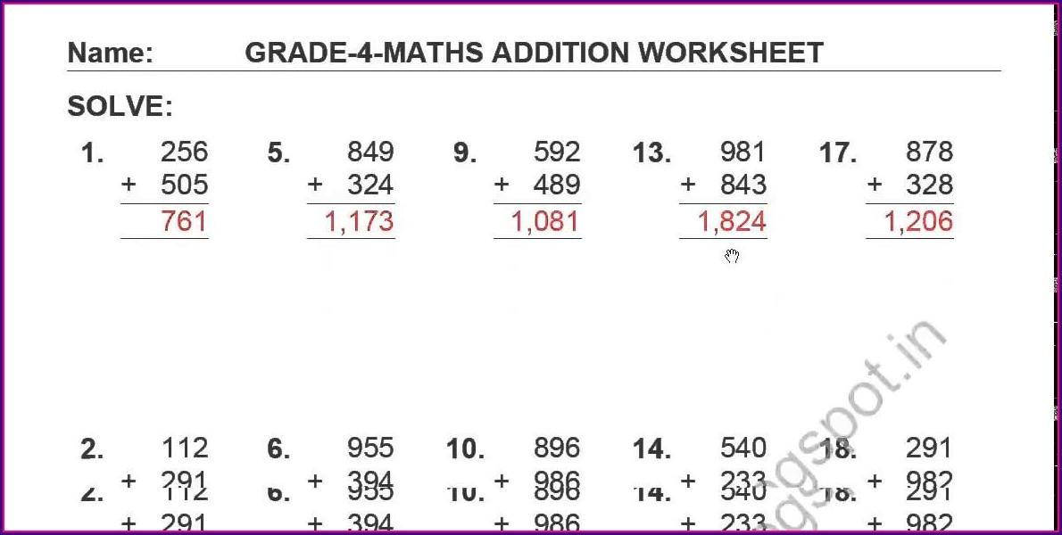 Free Worksheets Adding 3 Digit Numbers