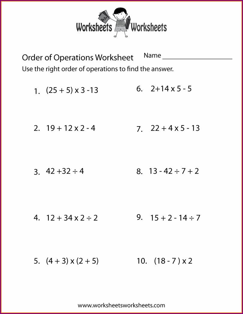 Free Worksheets Order Of Operations With Parentheses