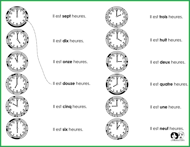 French Clock Times Worksheet