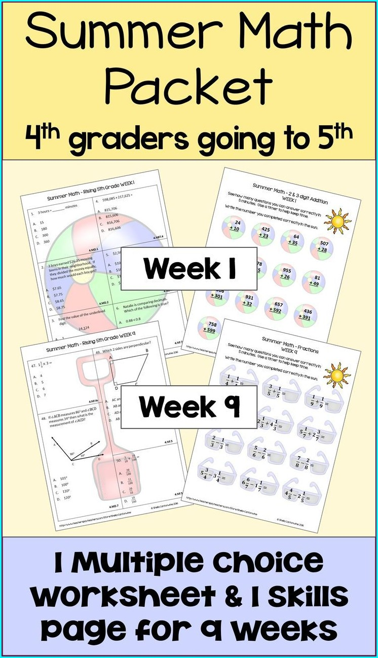 Fun Math Review Worksheets 4th Grade