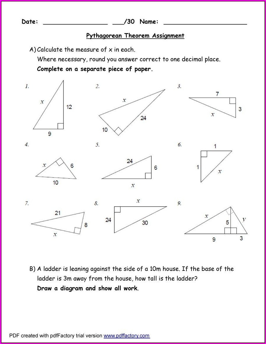 Fun Math Worksheets Pythagorean Theorem