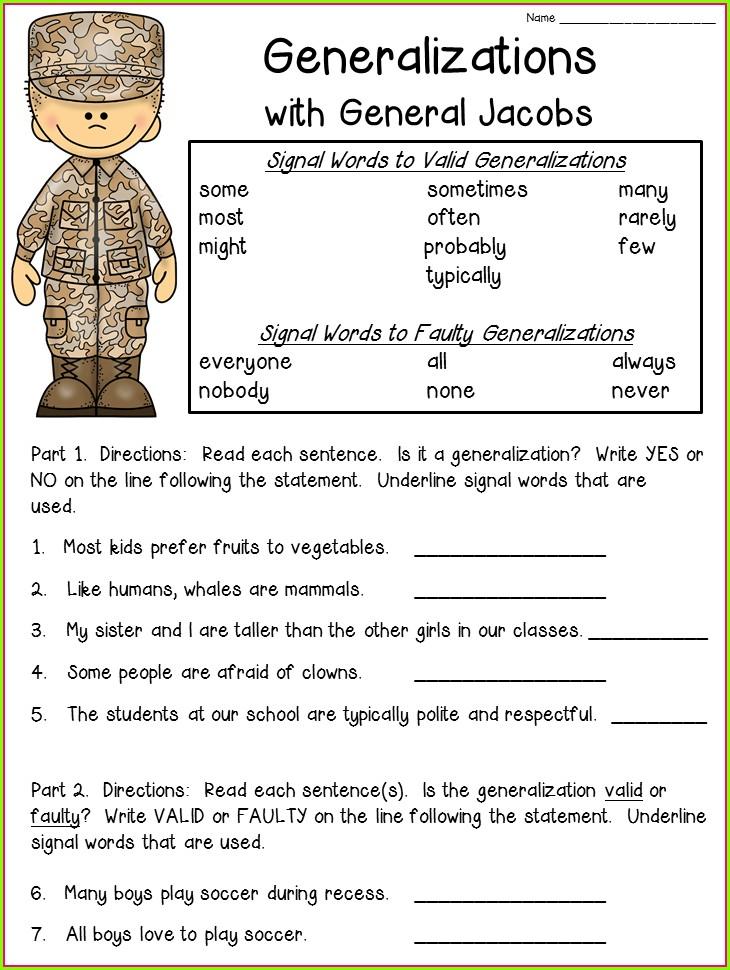 Generalization Worksheets For 3rd Grade