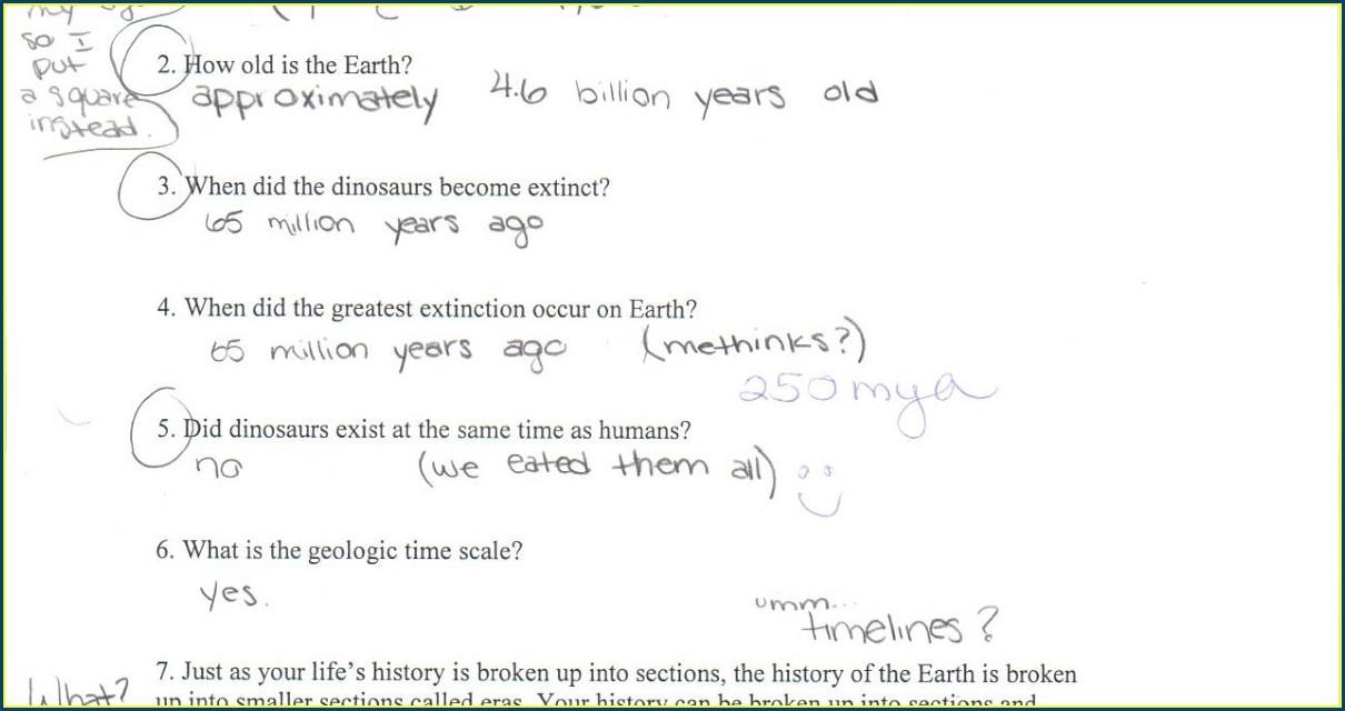 Geologic Time Scale Worksheet Answers