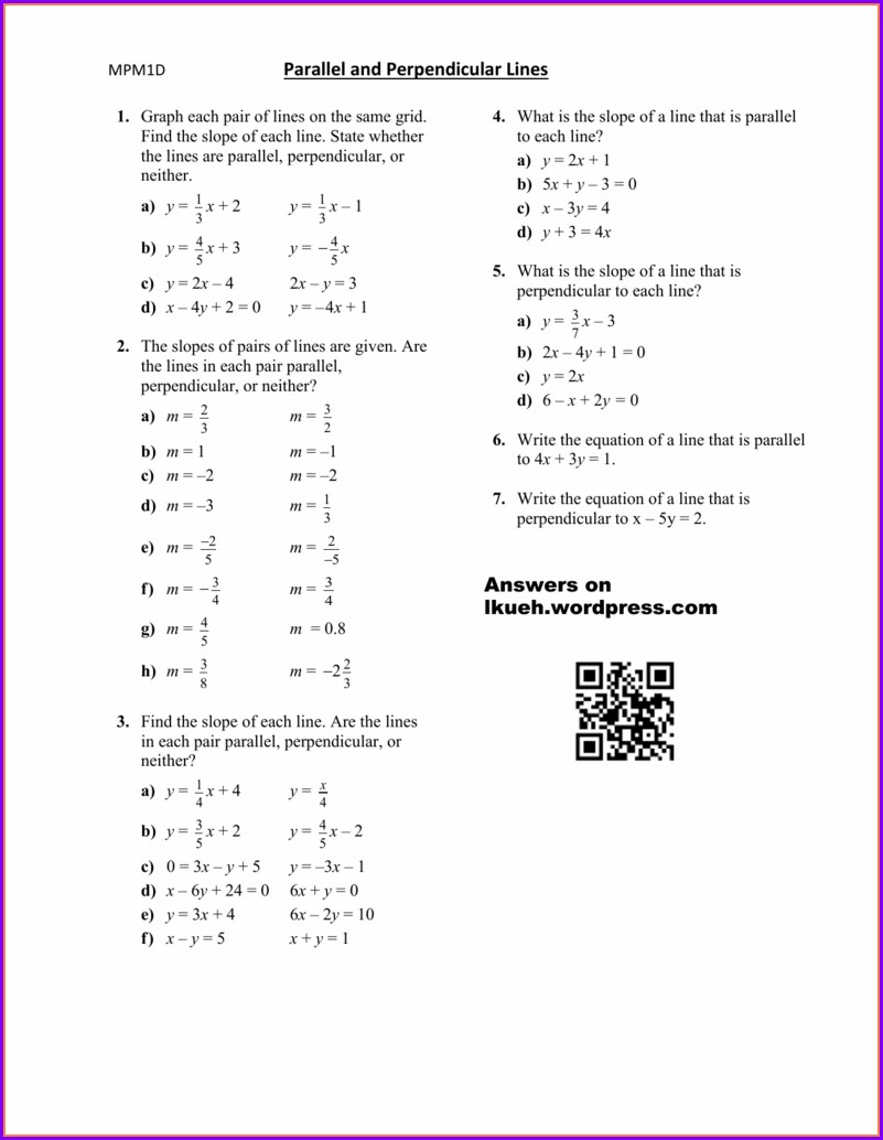 Geometry Writing Equations Of Lines Worksheet Answers