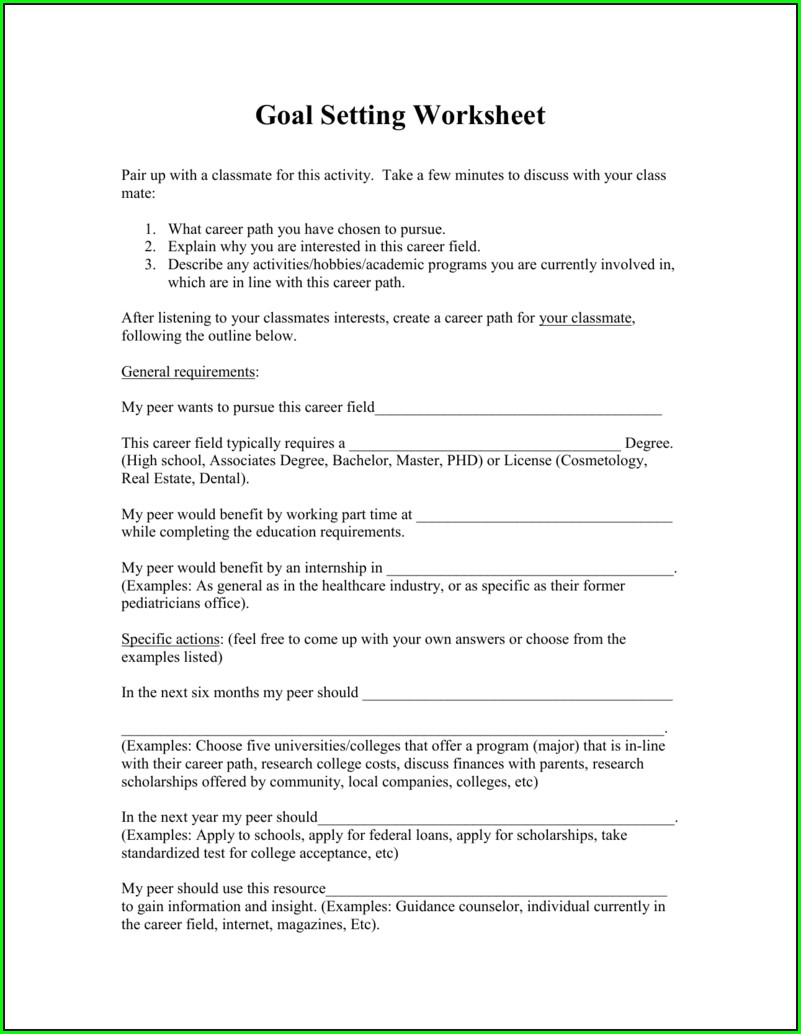 Goal Setting And Achievement Worksheet