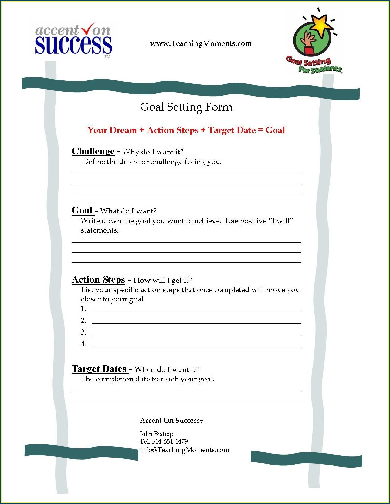 Goal Setting In School Worksheet
