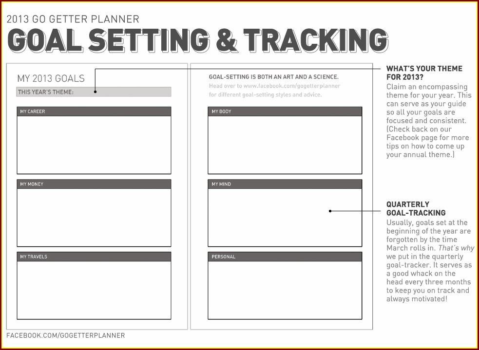 Goal Setting Worksheet And Weekly Planner Template