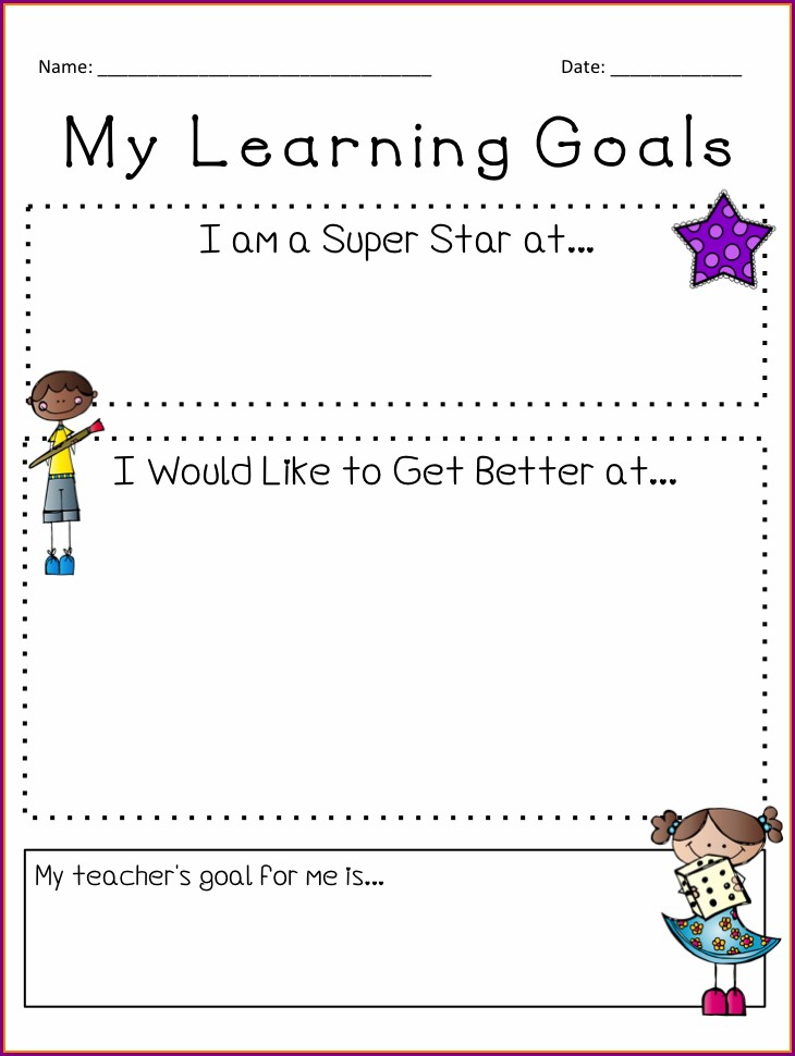 Goal Setting Worksheet Elementary