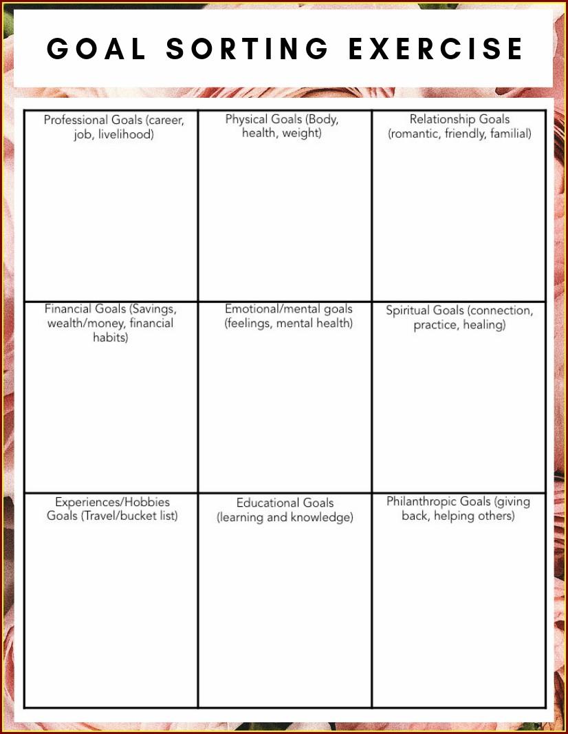Goal Setting Worksheet For Mentally Ill