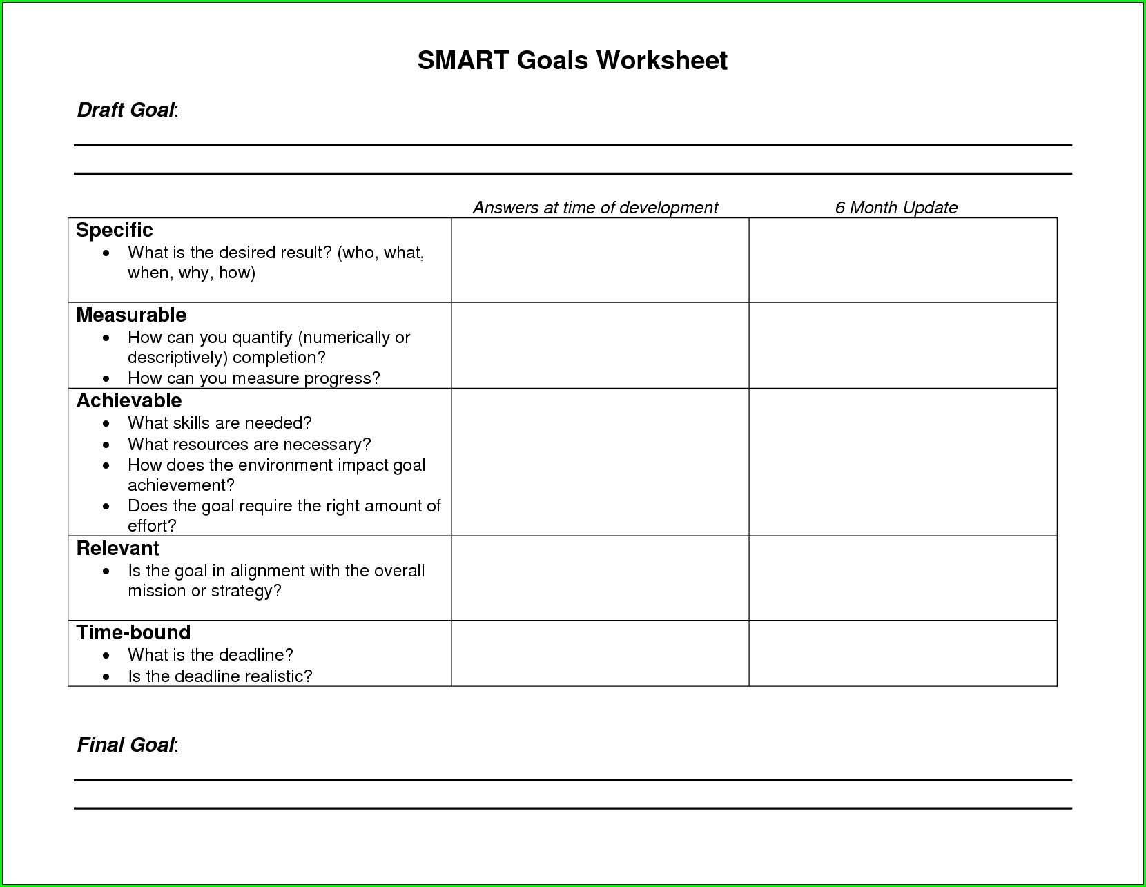 Goal Setting Worksheet For Recovery