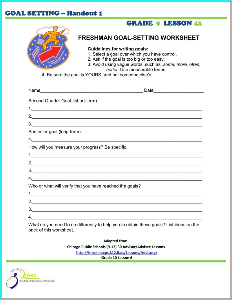 Goal Setting Worksheet Grade 2