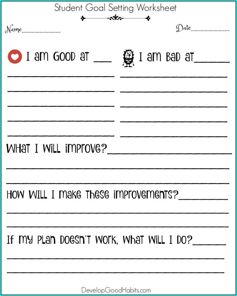 Goal Setting Worksheet Grade 3