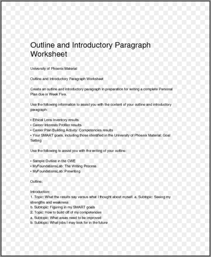 Goal Setting Worksheet University Of Phoenix