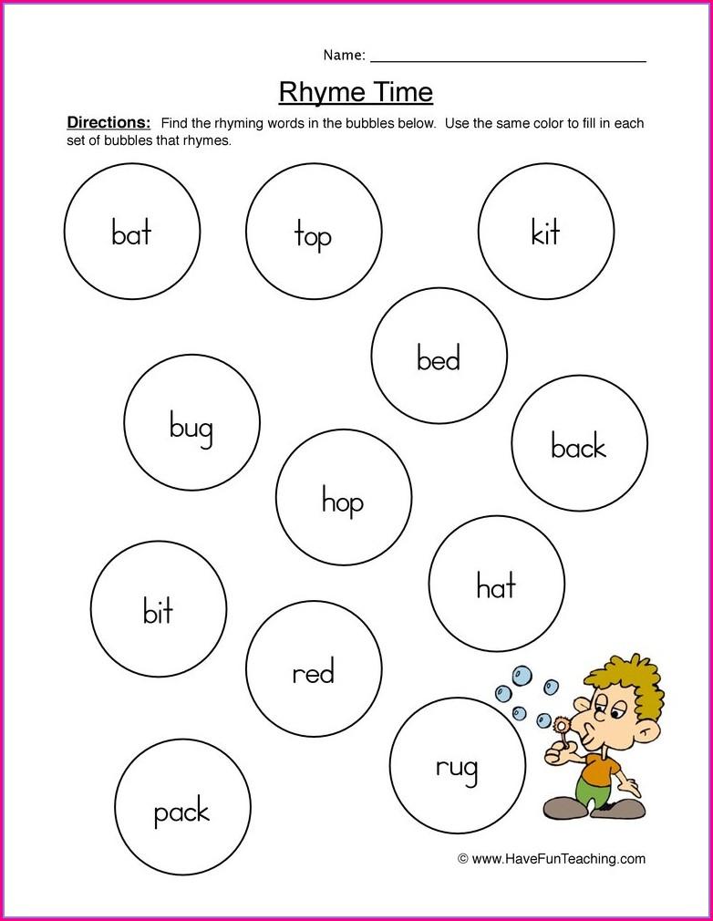 Grade 1 Matching Rhyming Words Worksheet