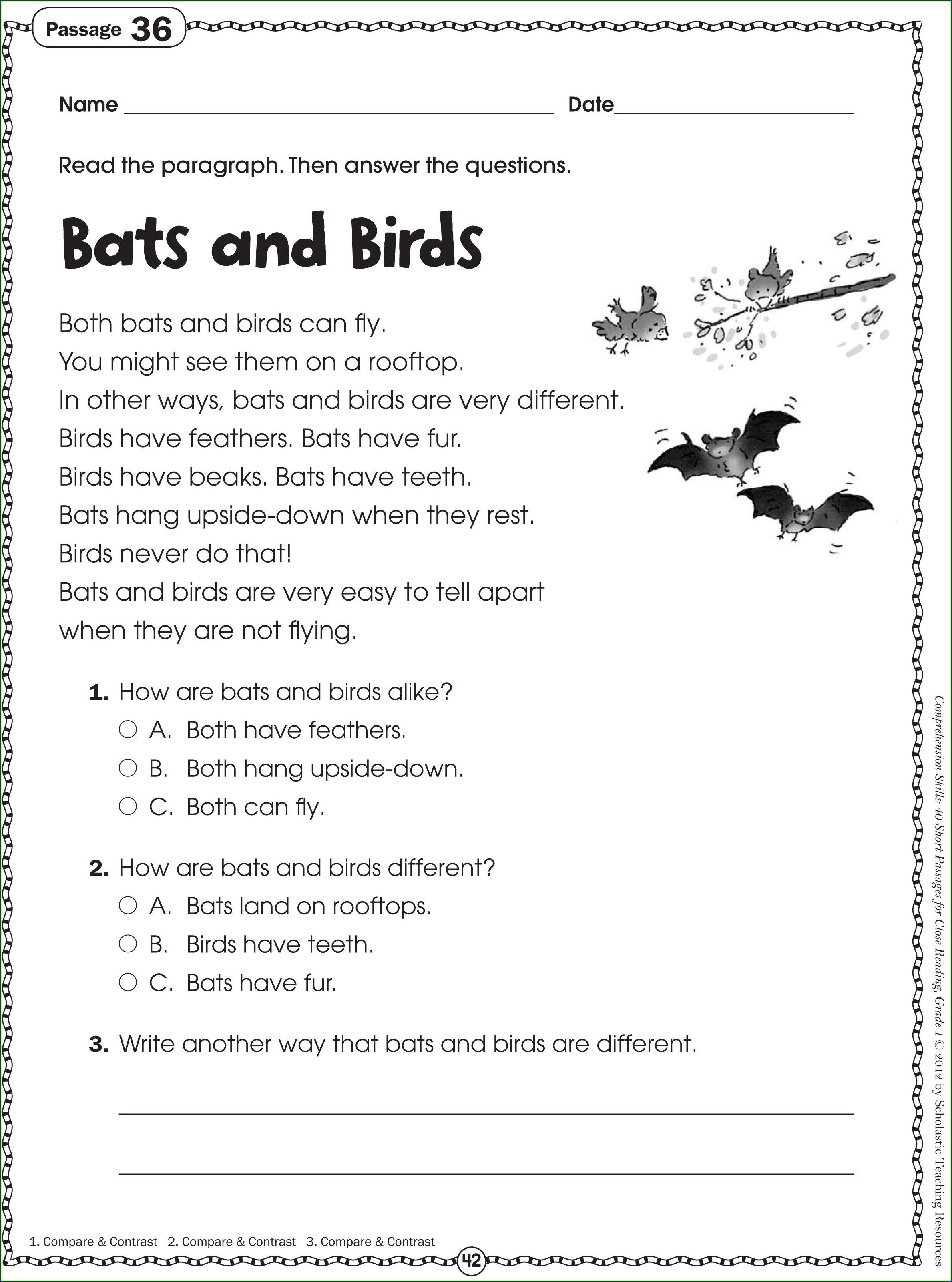 Grade 1 Reading And Writing Worksheets Pdf