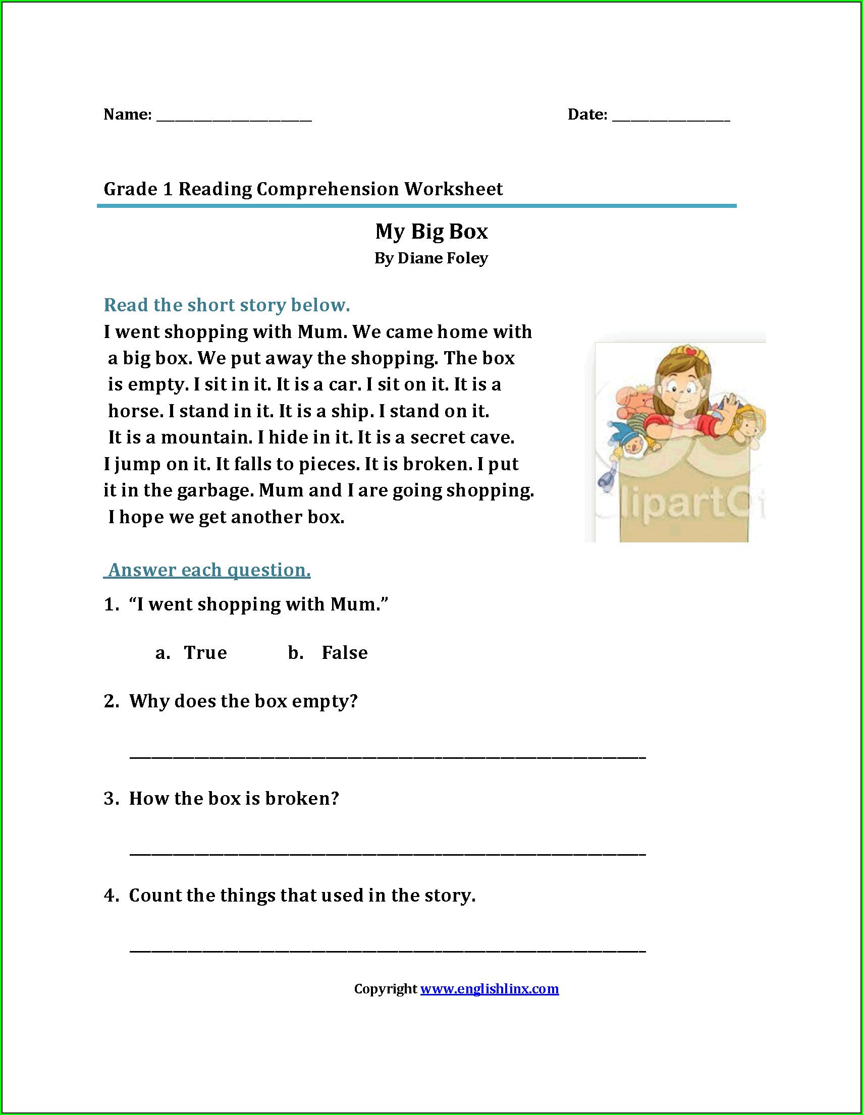 Grade 1 Reading Worksheets South Africa