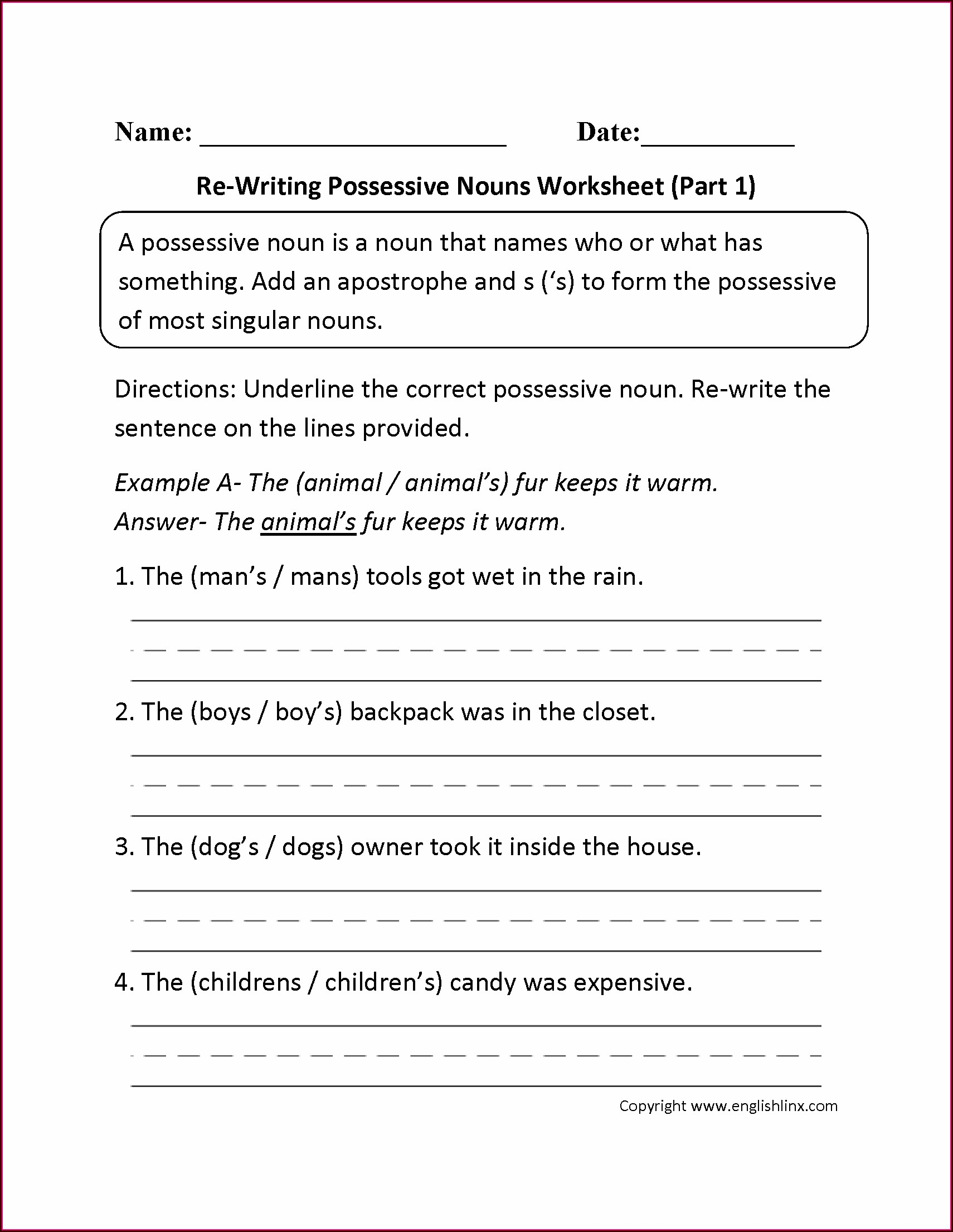 Grade 1 Worksheet On Nouns