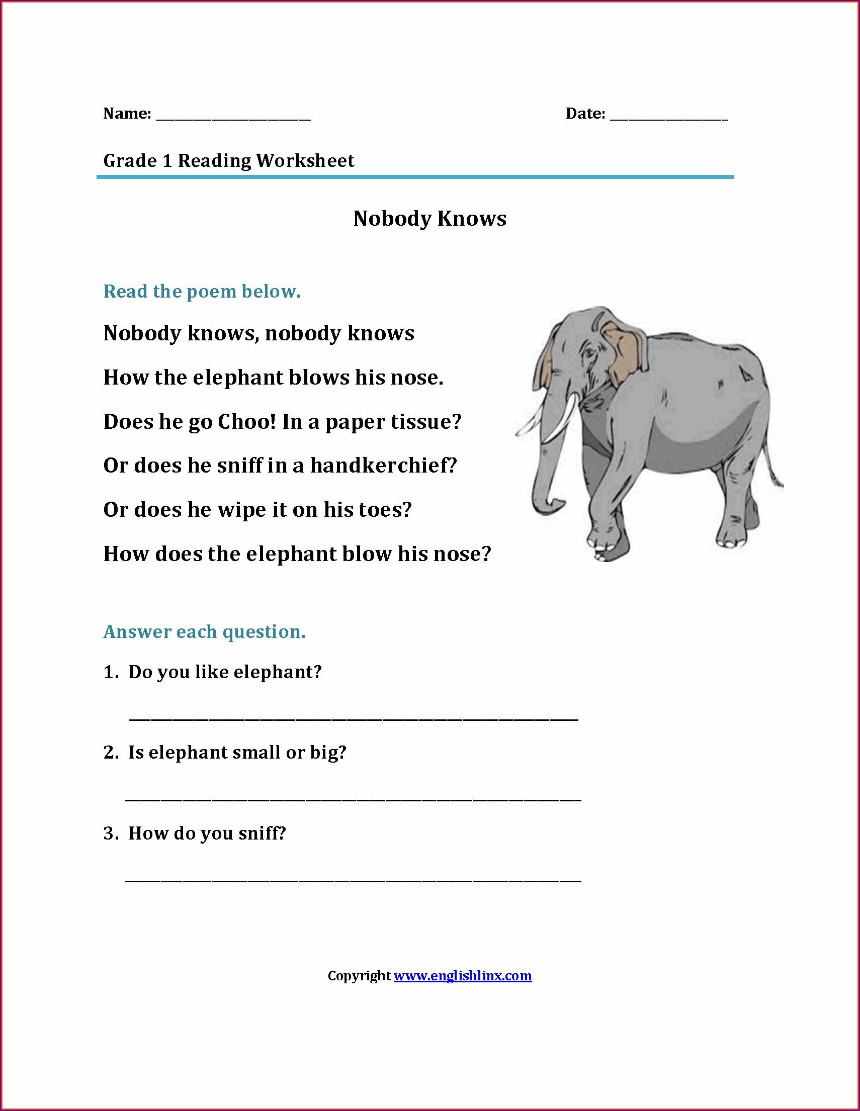 Grade 1 Worksheet Pdf 1st Grade Reading Comprehension Grade1