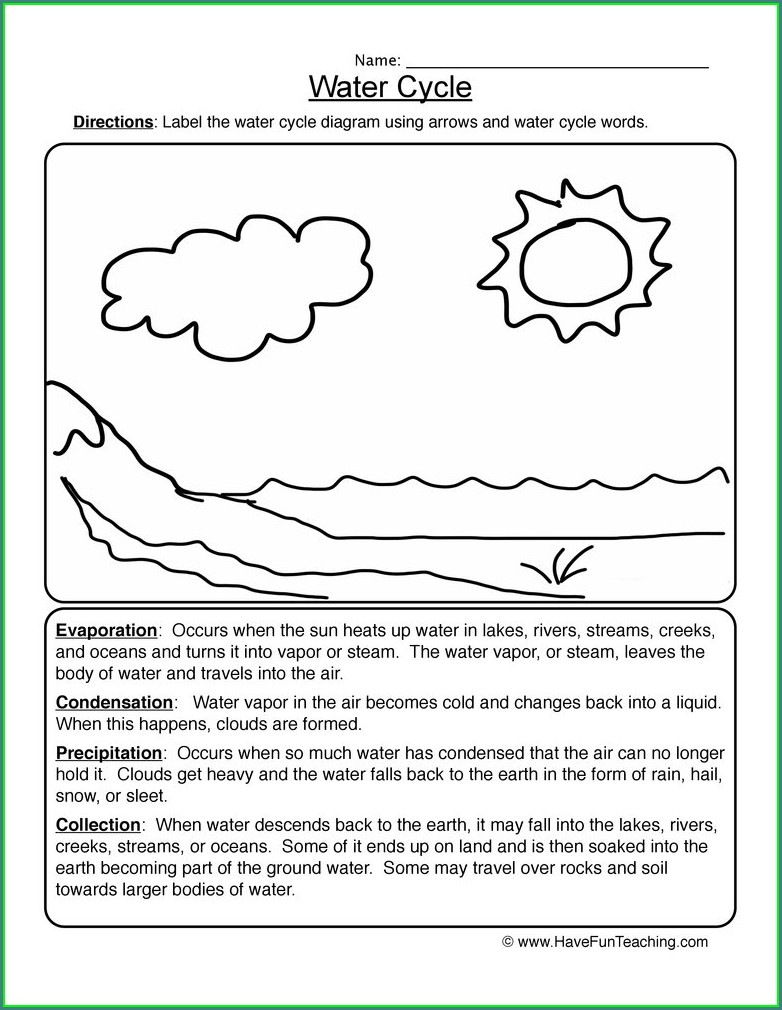 Grade 2 2nd Grade Water Cycle Worksheet