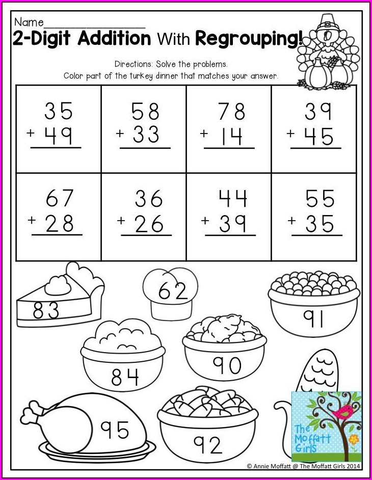 Grade 2 Addition Worksheets With Regrouping
