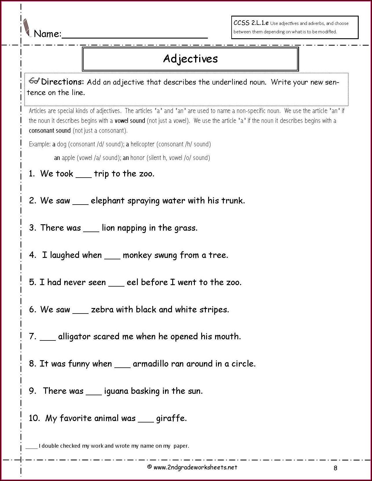 Grade 2 English Tenses Worksheet