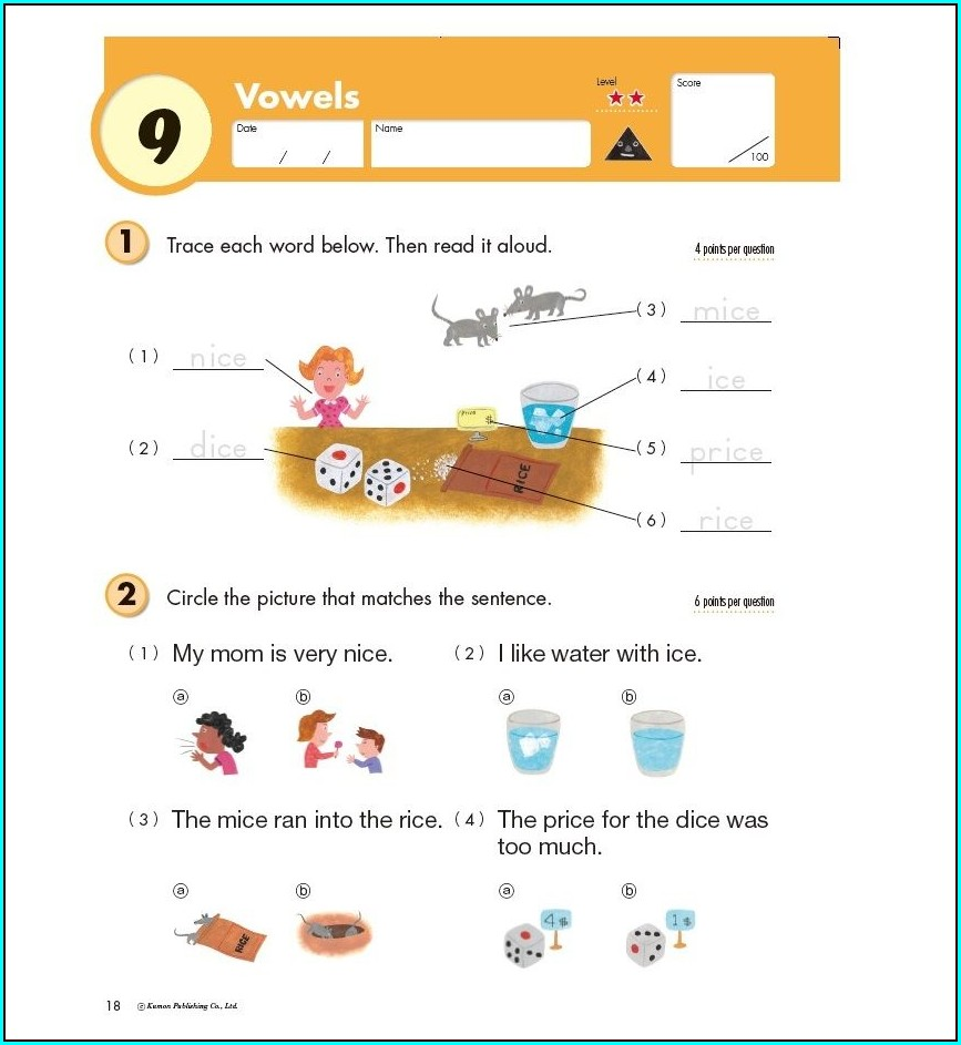 Grade 2 Free Printable Kumon English Worksheets