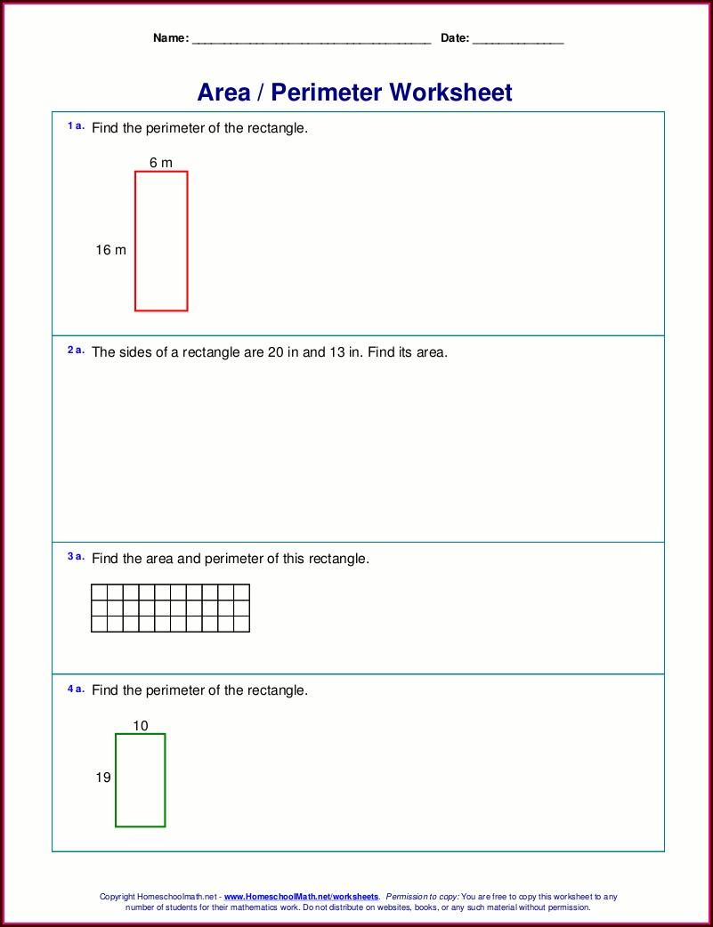 Grade 2 Math Worksheets Area Perimeter