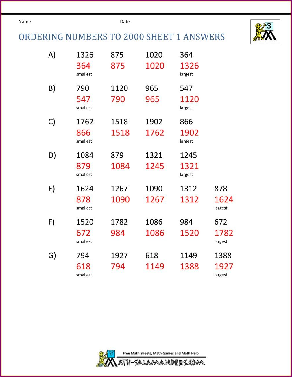 Grade 2 Math Worksheets Numeration