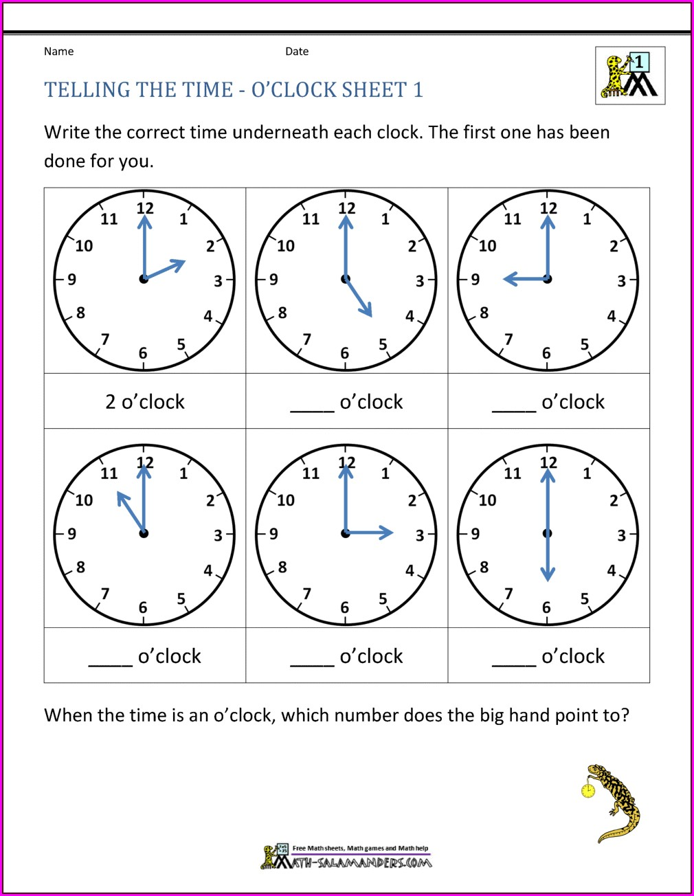 Grade 2 Math Worksheets On Time