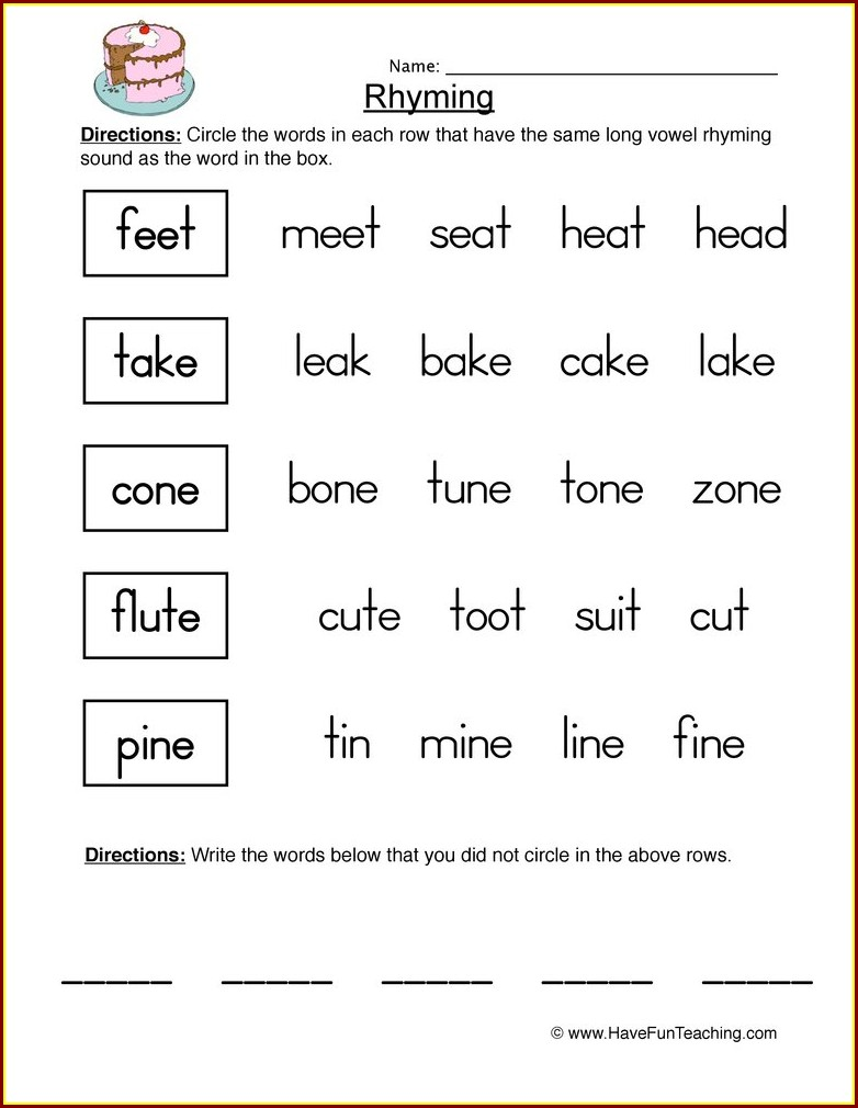 Grade 3 3rd Grade Grade 3 Rhyming Words Worksheet