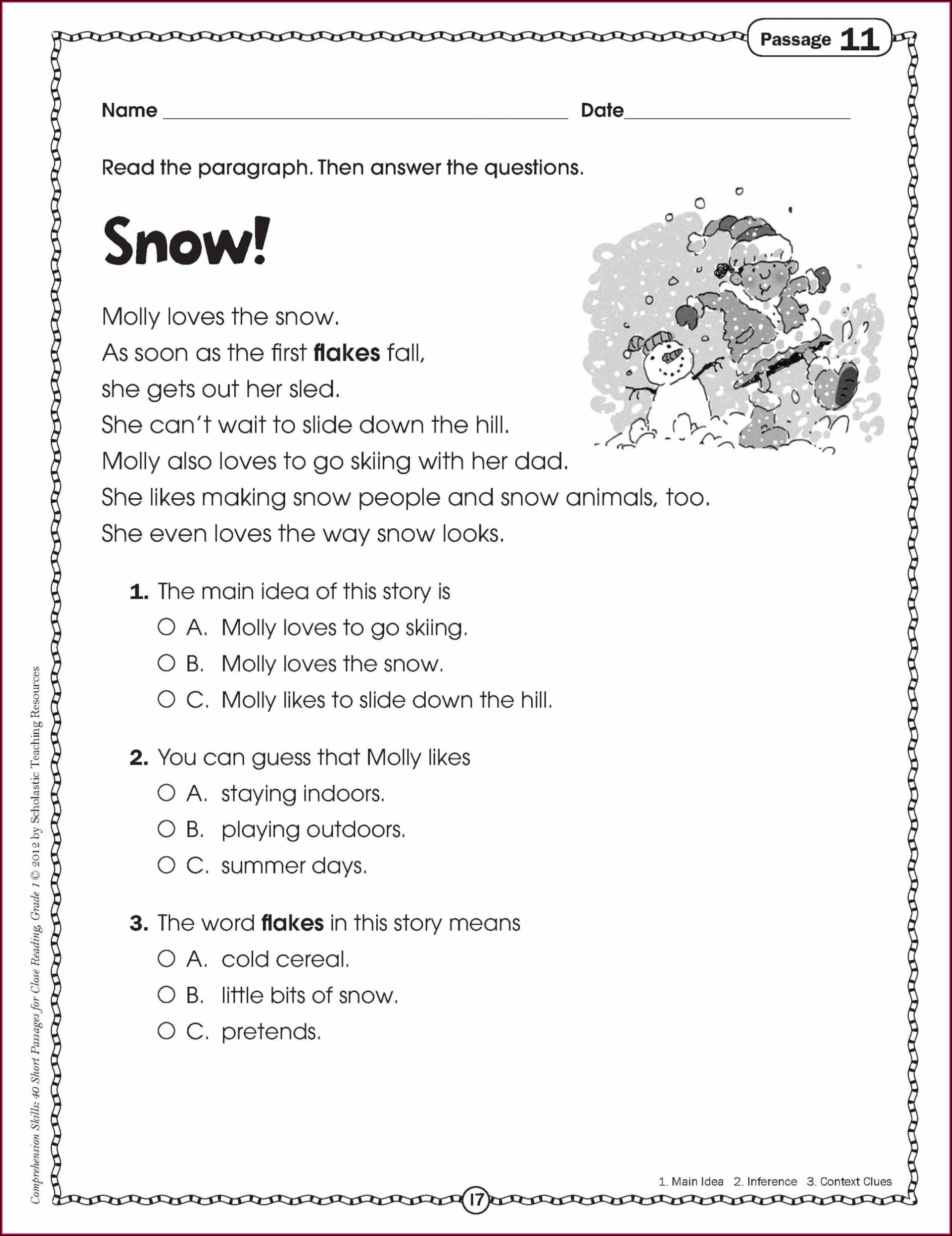 Grade 3 3rd Grade Main Idea Worksheets