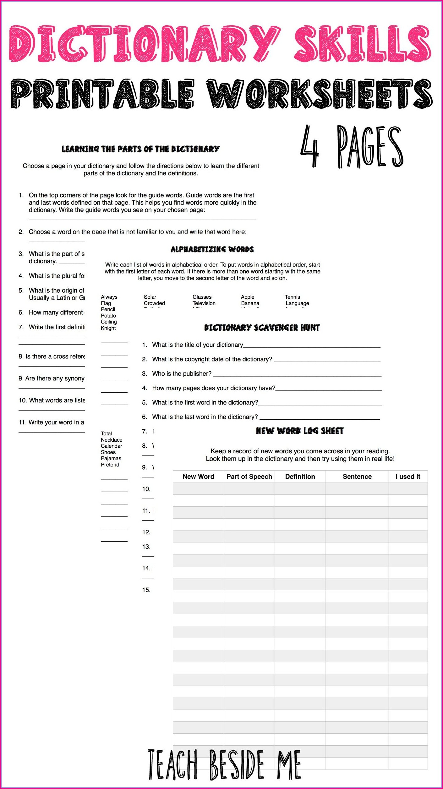 Grade 3 Dictionary Guide Words Worksheet