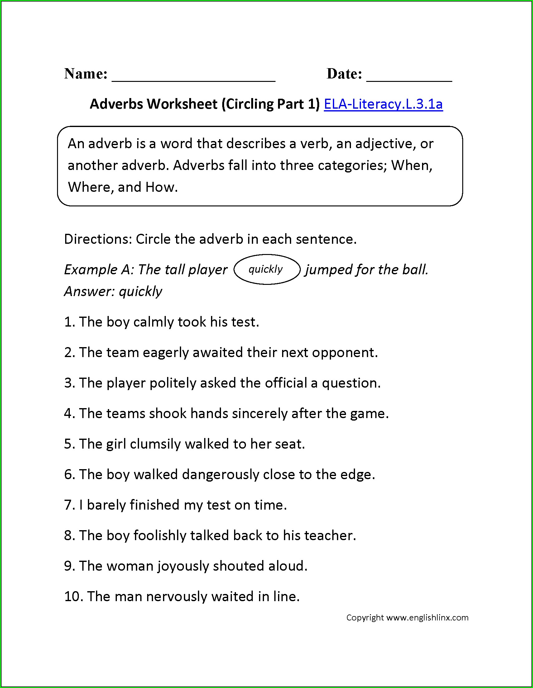 Grade 3 English First Additional Language Worksheets