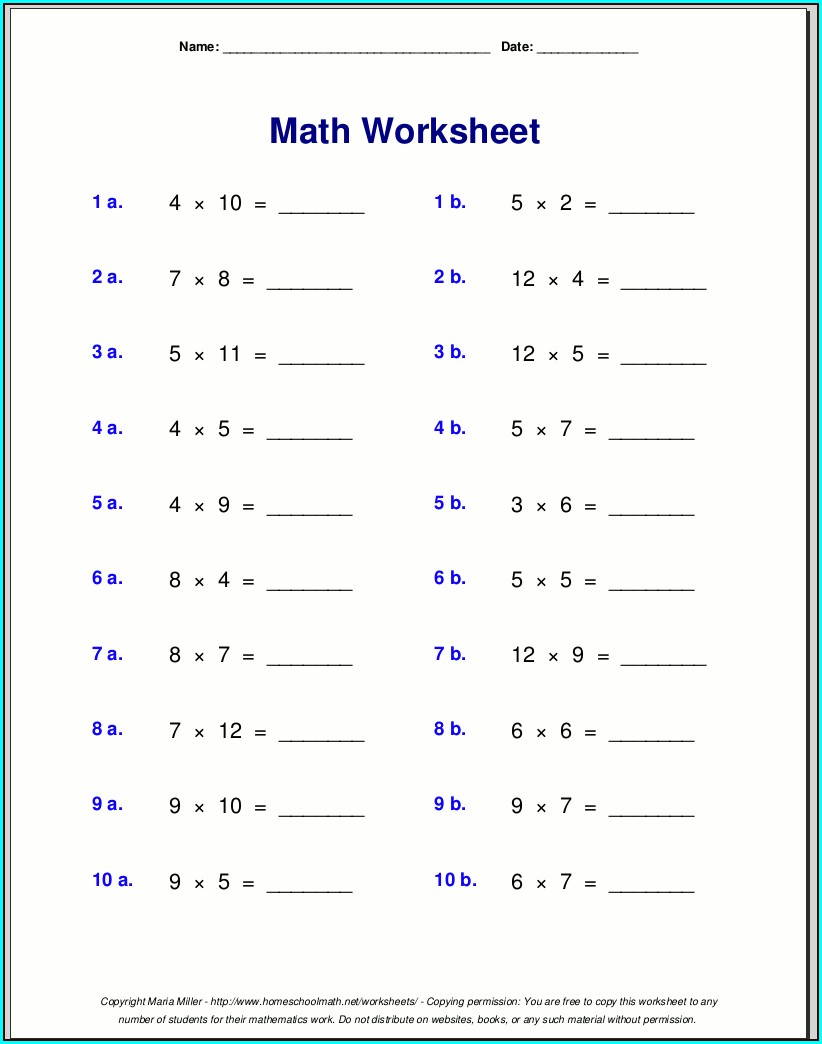 Grade 3 Multiplication Math Worksheets