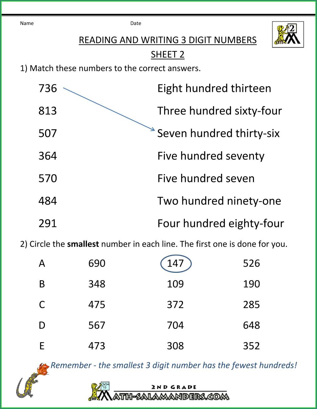 Grade 3 Words To Numbers Worksheet
