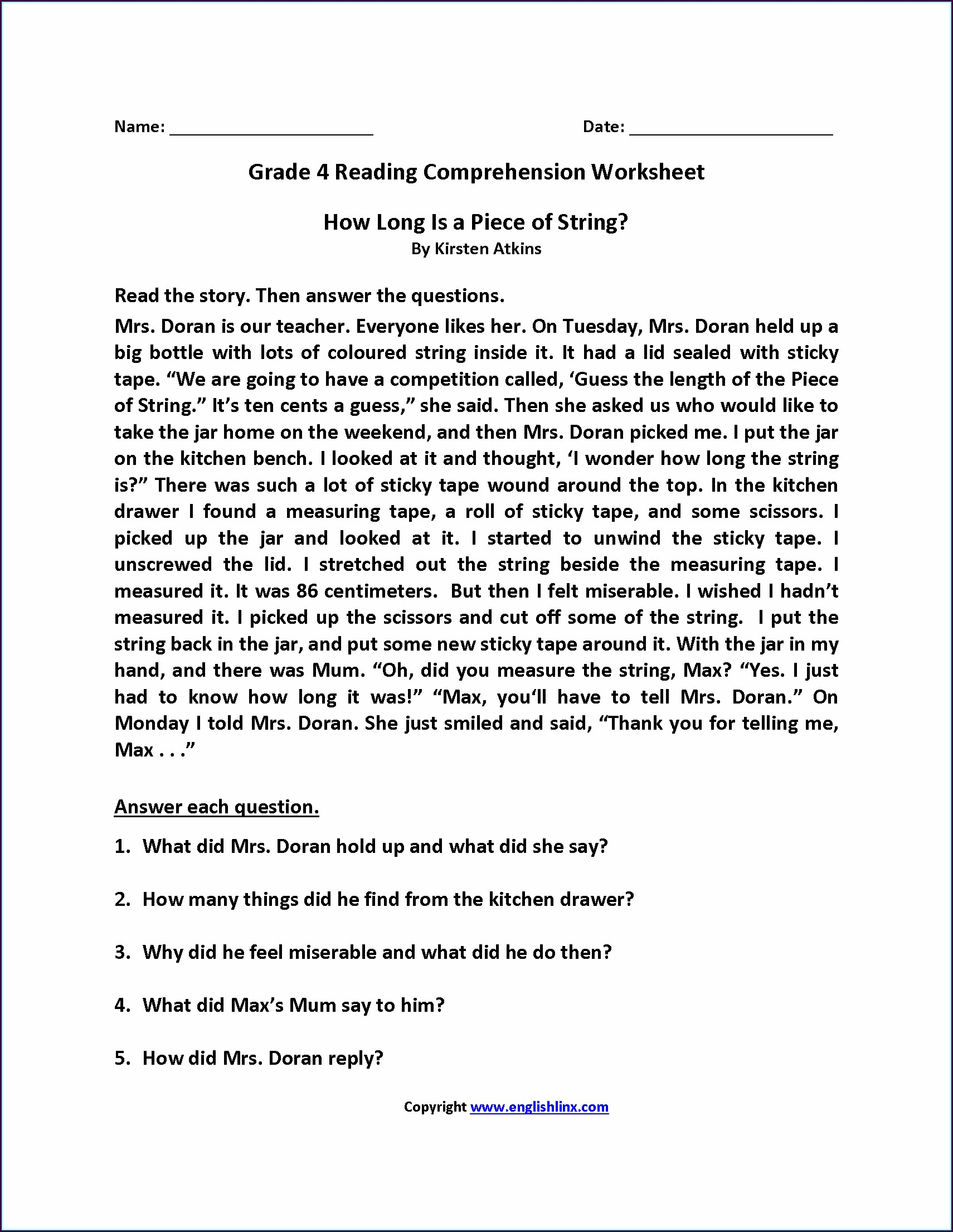 Grade 4 5th Grade Grade 4 English Worksheet