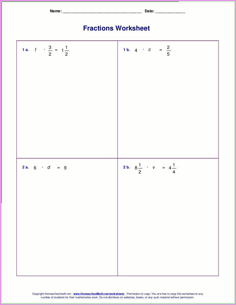 Grade 4 Fraction Multiplication Worksheet