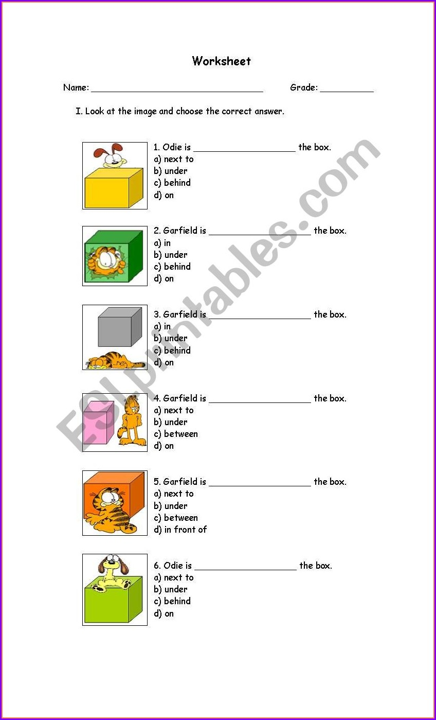 Grade 4 Prepositions Of Place Worksheet