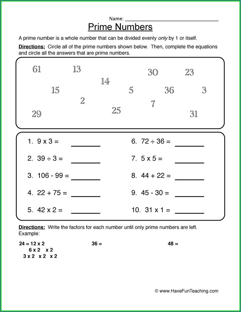 Grade 4 Prime And Composite Number Worksheet