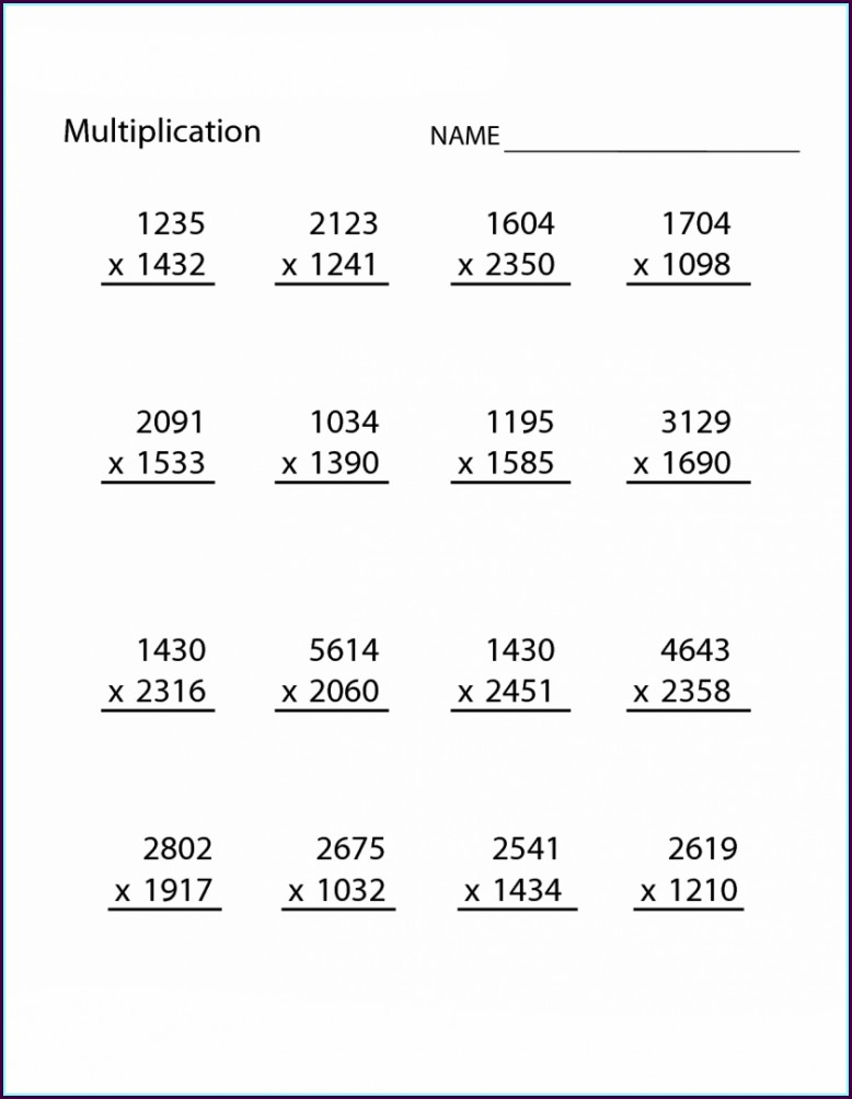 Grade 5 4th Grade Printable Multiplication Worksheets
