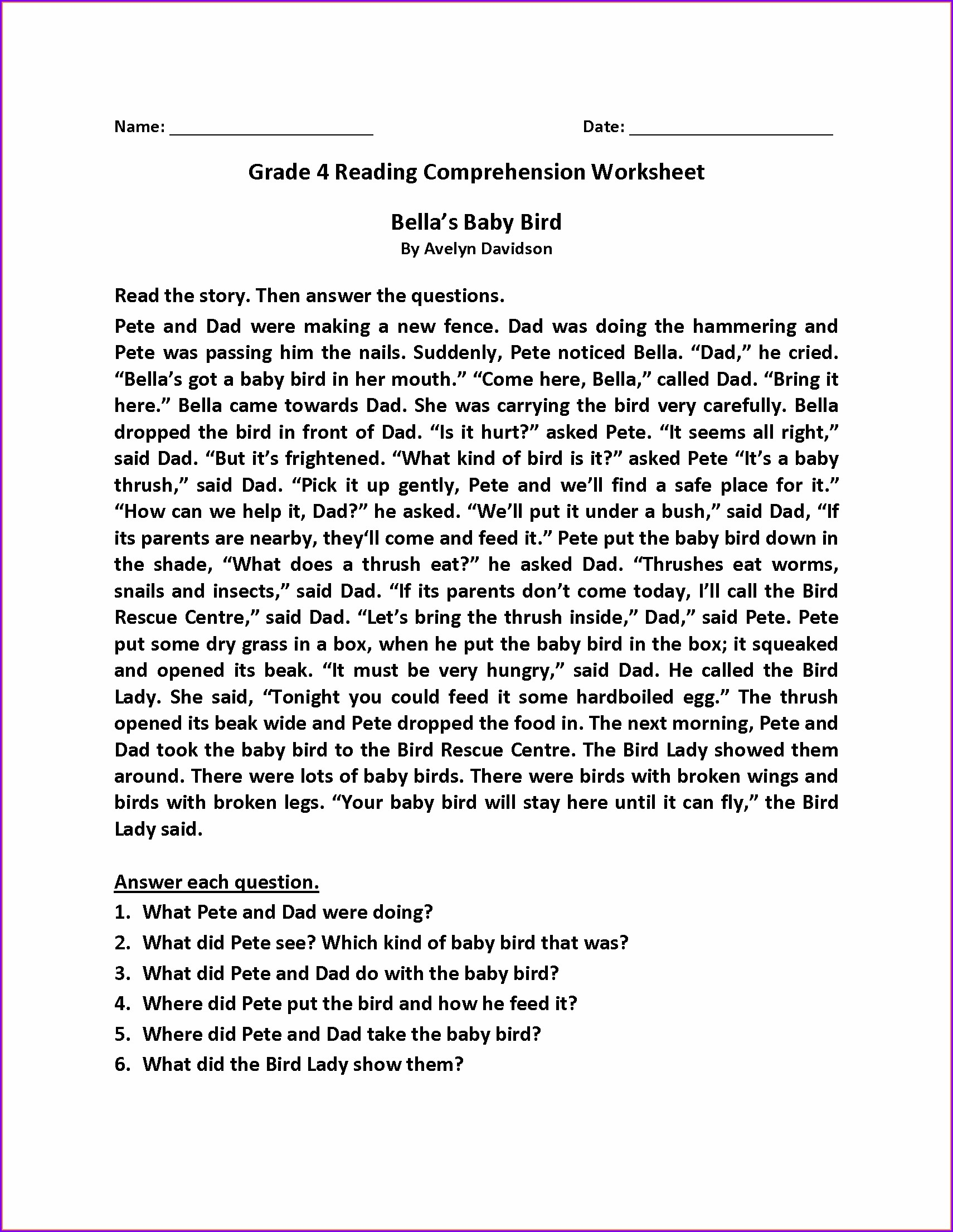 Grade 5 English Comprehension Worksheets